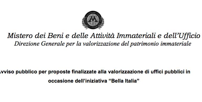 Avviso pubblico Bando Bella Italia rivolto ai funzionari
